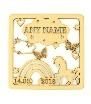 Laser Cut Personalised Box Frame Birth Plaque - Unicorn Theme