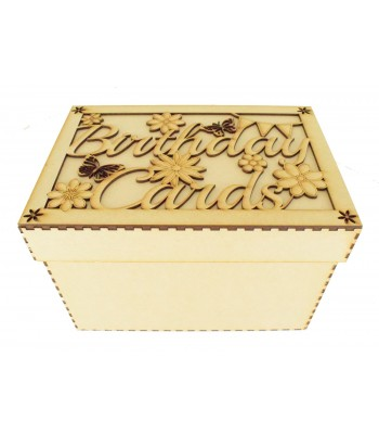 Laser Cut 'Birthday Cards' Storage Box - Large Box Frame Top - With Flowers and Butterflies