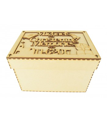 Laser Cut Personalised Birth Details Box with matching shapes - Large Box Frame Top