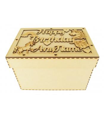 Laser Cut Personalised 'Happy Birthday' Unicorn Box - Large Box Frame Top