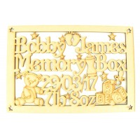 Laser Cut Personalised Baby Boy Memory Box - Large Box Frame Top