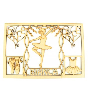Laser Cut Personalised Girls Ballet Dancer Memory Box - Large Box Frame Top