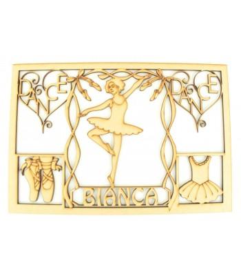 Laser Cut Personalised Girls Ballet Dancer Memory Box - Large Box Frame Top