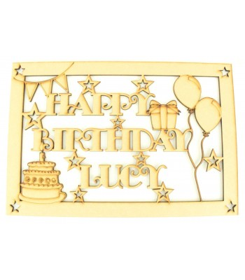Laser Cut Personalised 'Happy Birthday' Box - Large Box Frame Top - Star Design