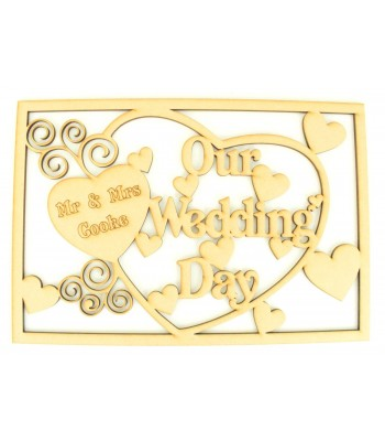 Laser Cut Personalised 'Our Wedding Day' - Large Box Frame Top
