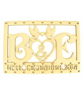 Laser Cut Personalised Initials with Wedding Date and Doves - Large Box Frame Top