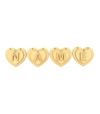 Laser Cut Personalised 3D Heart Bunting with Laser cut Letters - (A-R)