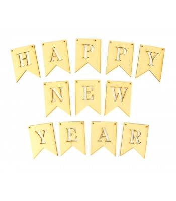 Laser Cut 'HAPPY NEW YEAR' Traditional Banner Shape Bunting
