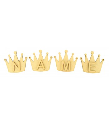 Laser Cut Personalised Crown Bunting with Letters - (AR)