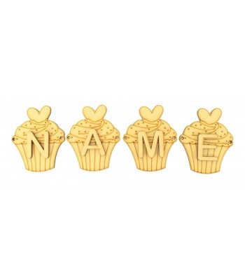 Laser Cut Personalised Cupcake Bunting with Letters - (AR)