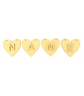 Laser Cut Personalised Heart Bunting with Letters - (A-R)