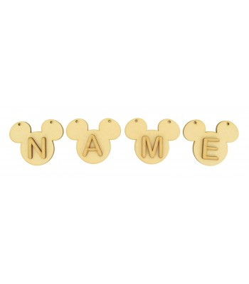 Laser Cut Personalised Mouse Head Bunting with Letters - (AR)