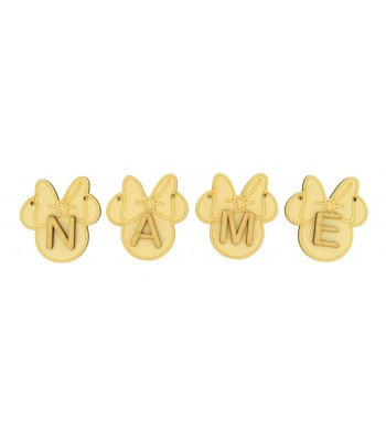 Laser Cut Personalised Mouse Head with Bow Bunting with Letters - (AR)