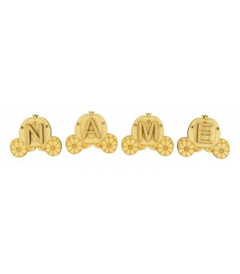Laser Cut Personalised Princess Carriage Bunting with Letters - (AR)