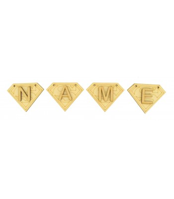 Laser Cut Personalised Superhero Logo Bunting with Letters - (AR)