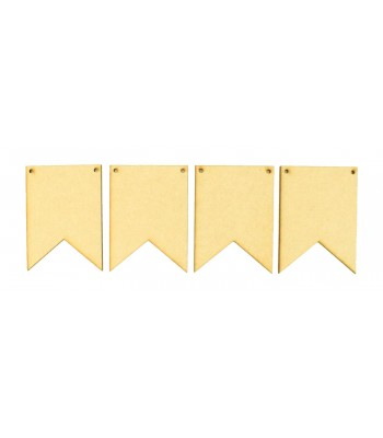 Laser Cut Plain Traditional Banner Shape Bunting - Pack of 10