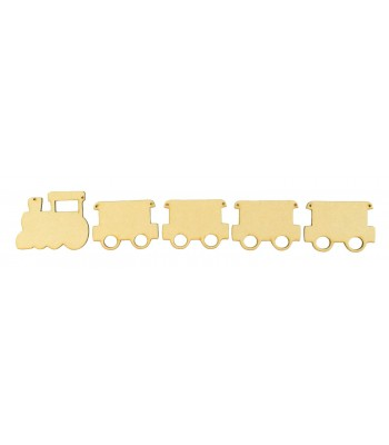 Laser Cut Plain Train and Carriages Shape Bunting - Pack of 10