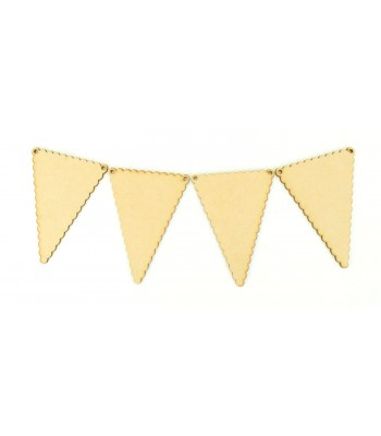 Laser Cut Plain Scalloped Edge Traditional Bunting Flags - Pack of 10