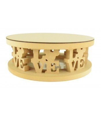 18mm MDF Round Cake Stand - Mouse Head Love Word Design - Variety of Sizes Available