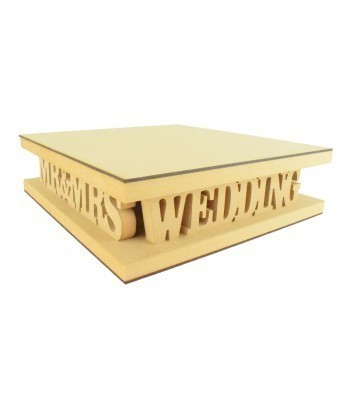 18mm MDF Square Cake Stand - Mr&Mrs Wedding Day Design - Variety of Sizes Available