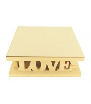 18mm MDF Square Cake Stand - Love Design - Variety of Sizes Available