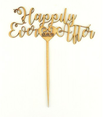 Laser Cut Personalised 'Happily Ever After' Wedding Cake Topper - Script Font