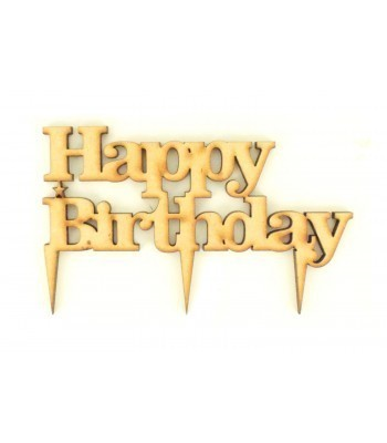 Laser Cut 'Happy Birthday' Cake Topper