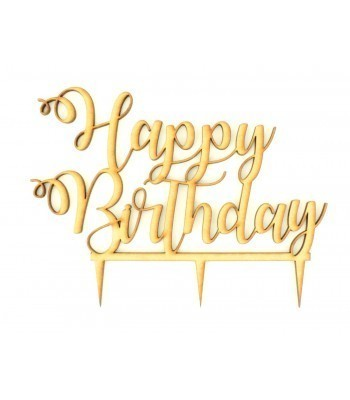 Laser Cut 'Happy Birthday' Script Font Cake Topper