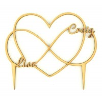 Laser Cut Personalised Infinity Heart Wedding Cake Topper