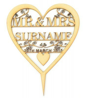Laser Cut Personalised Mr&Mrs Heart Cake Topper with swirl detail - Surname & Date