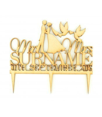 Laser Cut Personalised Mr&Mrs Wedding Cake Topper with Surname & Date