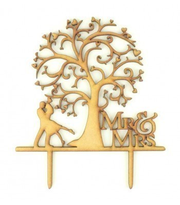 Laser Cut 'Mr & Mrs' Tree Design with Couple Cake Topper