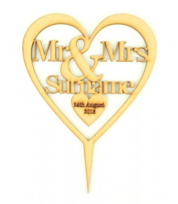 Laser Cut Personalised Mr&Mrs Heart Cake Topper - Surname & Date