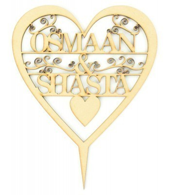 Laser Cut Personalised Heart Cake Topper with swirl detail - 2 Names