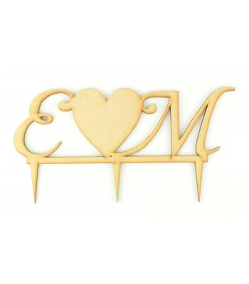 Laser Cut  Personalised Script Font Initials with Solid Heart Wedding Cake Topper