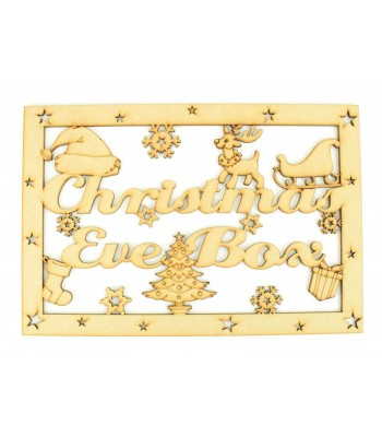 Laser Cut 'Christmas Eve Box'  Large Christmas Box Frame Top with Christmas Shapes