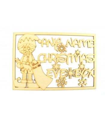 Laser Cut Personalised 'Christmas Eve Box'  Large Christmas Box Frame Top - Elf Boy