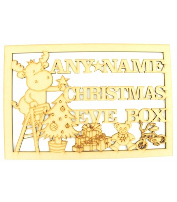 Laser Cut Personalised 'Christmas Eve Box'  Large Christmas Box Frame Top - Reindeer Design