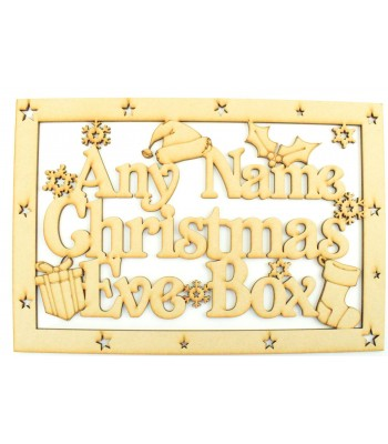 Laser Cut Personalised 'Christmas Eve Box'  Large Christmas Box Frame Top with Christmas Hat, Present & Stocking