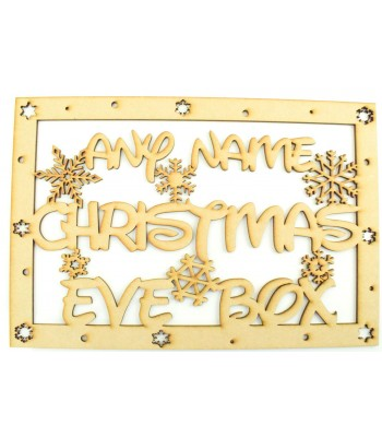 Laser Cut Personalised 'Christmas Eve Box'  Large Christmas Box Frame Top. Disney Font with Snowflakes