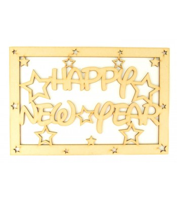 Laser Cut 'Happy New Year'  Large Christmas Box Frame Top with Stars