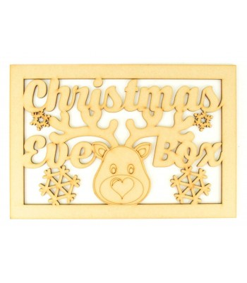 Laser Cut 'Christmas Eve Box'  Large Christmas Box Frame Top - Reindeer Head Design