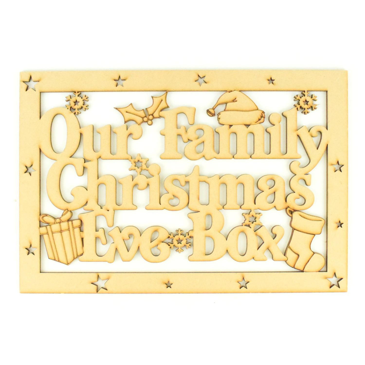 /'Our Family Christmas Eve Box/' Wooden MDF Childrens Christmas Eve Box Gift