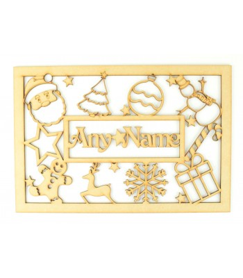 Laser Cut Personalised Christmas Box Large Frame Top with Stencil Christmas Shapes