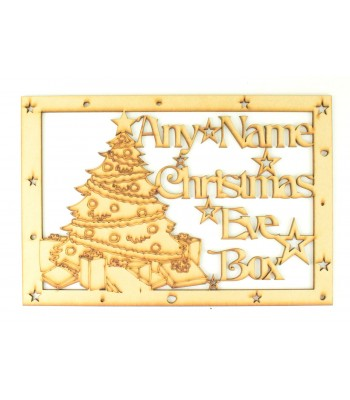 Laser Cut Personalised 'Christmas Eve Box' Large Frame Top with Christmas Tree and Stars