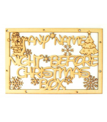 Laser Cut Personalised 'Night Before Christmas Box' Large Frame Top with Santa and Christmas Tree