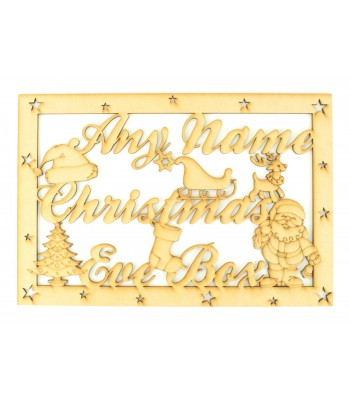Laser Cut Personalised 'Christmas Eve Box' Large Frame Top Script font with Christmas Shapes