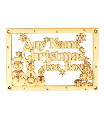 Laser Cut Personalised 'Christmas Eve Box' Large Frame Top with Snowman Family