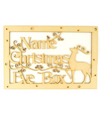 Laser Cut Personalised 'Christmas Eve Box' Large Frame Top with Fancy Reindeer and Swirls