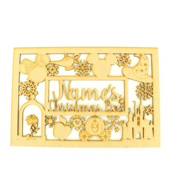Laser Cut Personalised 'Christmas Box'  Large Christmas Box Frame Top with Magic Castle Shapes